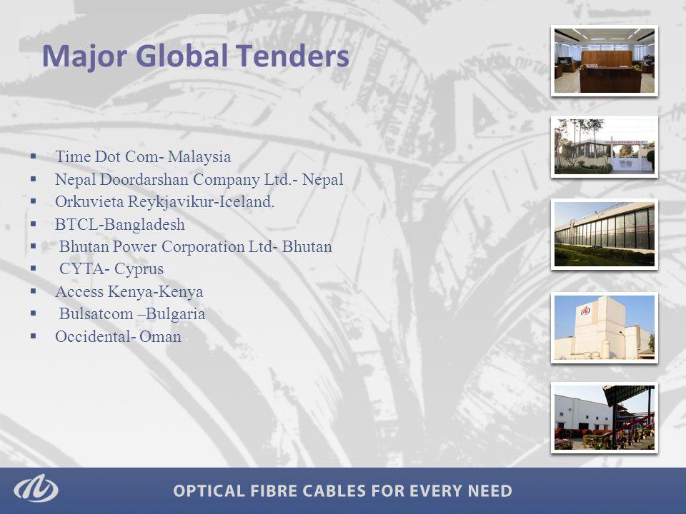 Major Global Tenders  Time Dot Com- Malaysia  Nepal Doordarshan Company Ltd.- Nepal  Orkuvieta Reykjavikur-Iceland.  BTCL-Bangladesh  Bhutan Powe