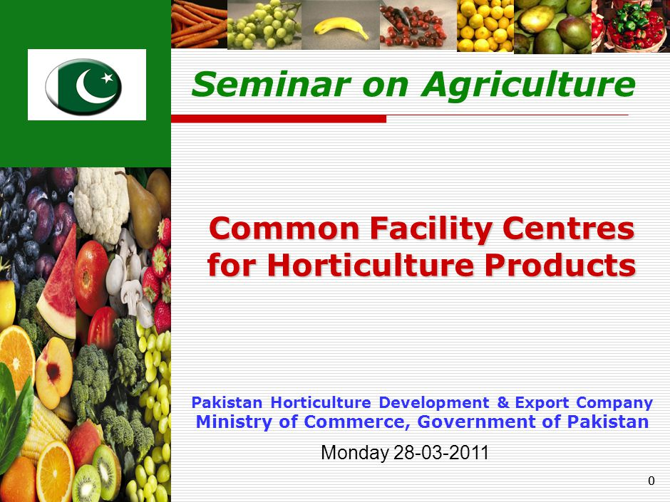 00 Pakistan Horticulture Development & Export Company Ministry of Commerce, Government of Pakistan Common Facility Centres for Horticulture Products Seminar on Agriculture Monday 28-03-2011
