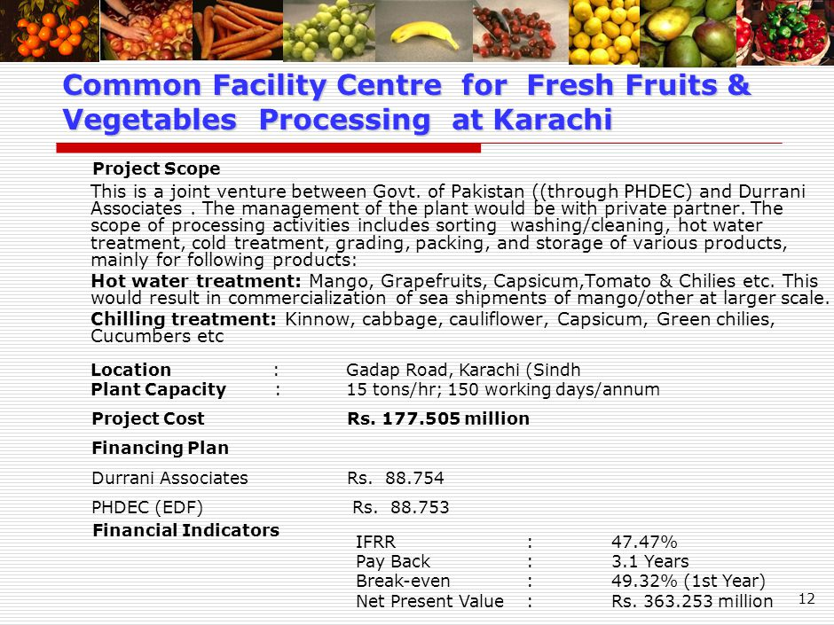 12 This is a joint venture between Govt. of Pakistan ((through PHDEC) and Durrani Associates.