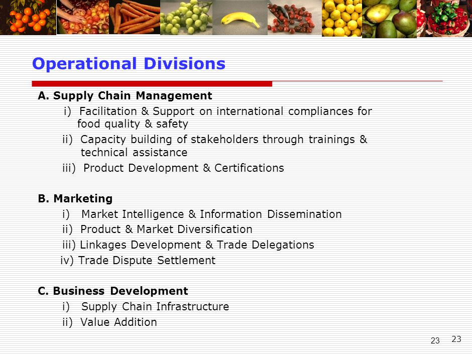 23 A. Supply Chain Management i) Facilitation & Support on international compliances for food quality & safety ii) Capacity building of stakeholders t