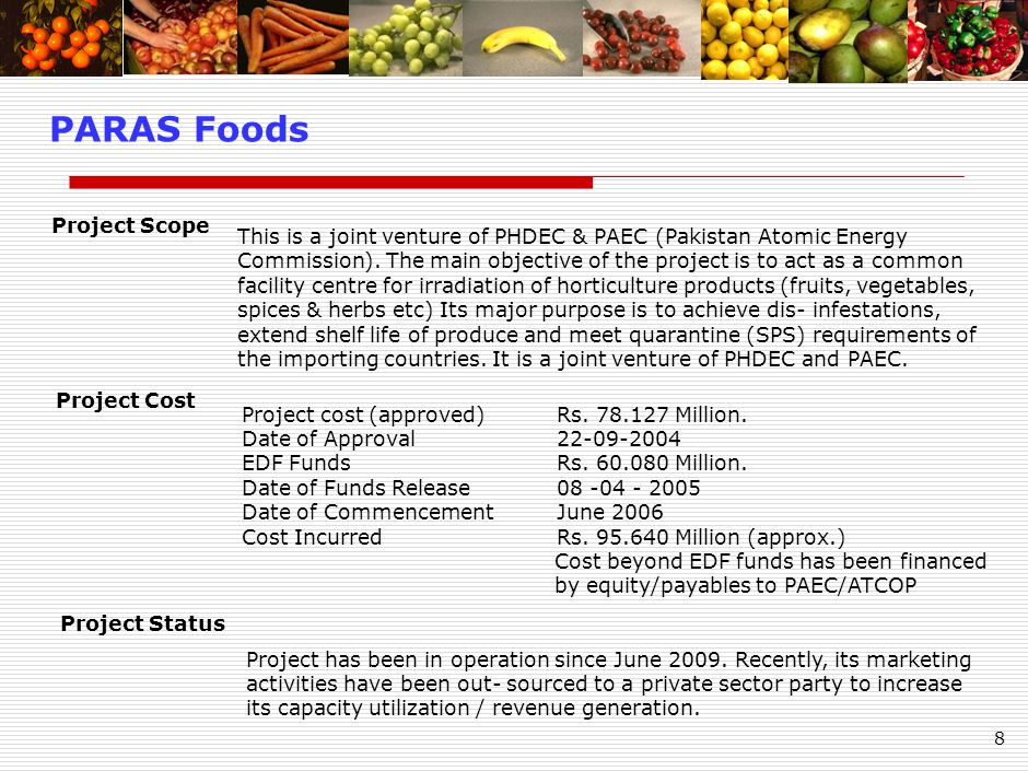 8 PARAS Foods This is a joint venture of PHDEC & PAEC (Pakistan Atomic Energy Commission).
