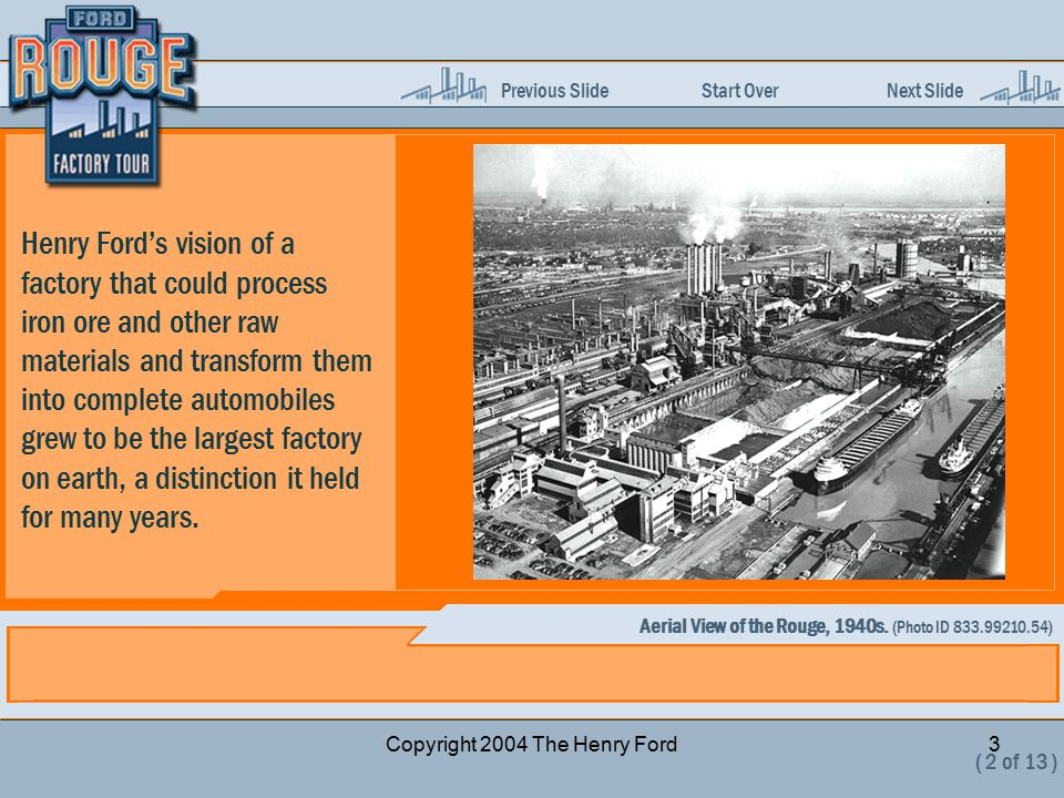 Previous Slide Start Over Next Slide Copyright 2004 The Henry Ford3 Henry Ford's vision of a factory that could process iron ore and other raw materia