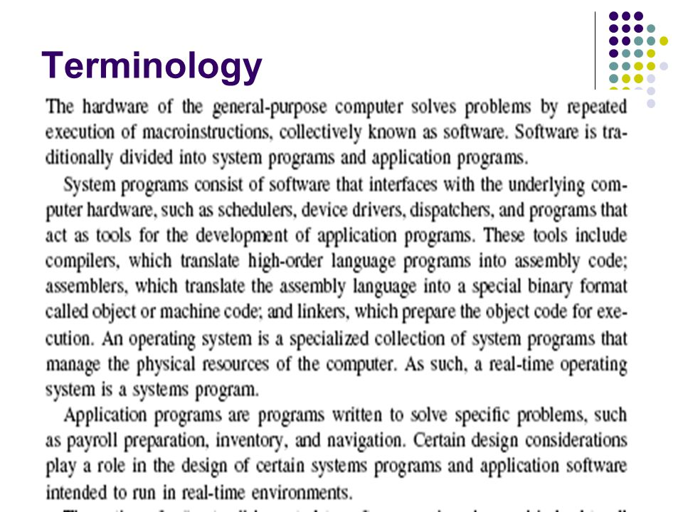 CMPE-443 Real-Time System Design (Spring 2009) 2 Terminology