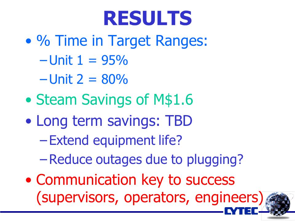 % Time in Target Ranges: –Unit 1 = 95% –Unit 2 = 80% Steam Savings of M$1.6 Long term savings: TBD –Extend equipment life.