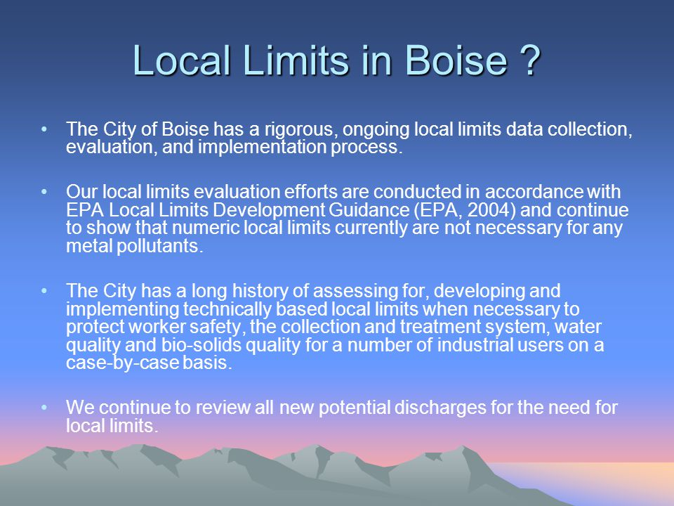 Local Limits in Boise .