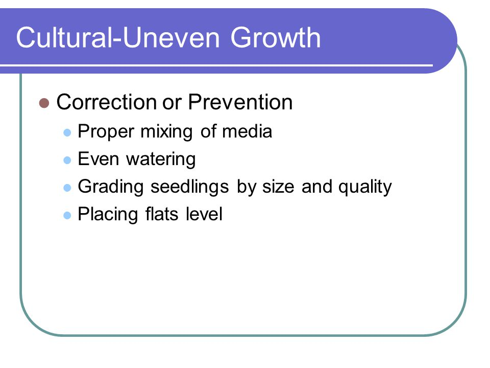 Cultural-Uneven Growth Correction or Prevention Proper mixing of media Even watering Grading seedlings by size and quality Placing flats level