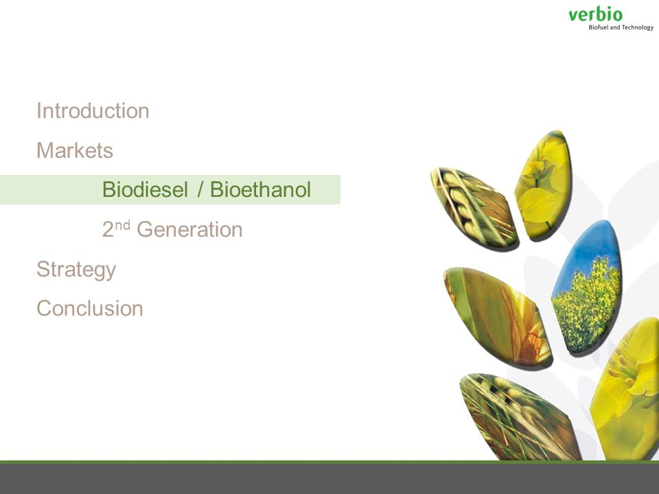 Introduction Markets Biodiesel / Bioethanol 2 nd Generation Strategy Conclusion