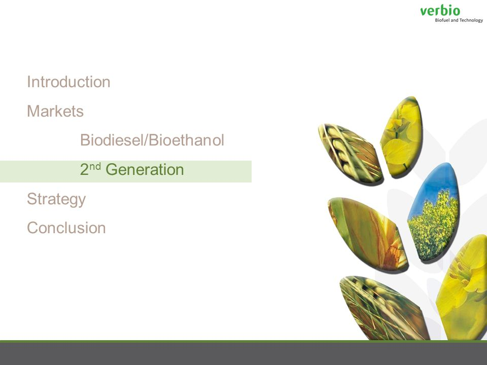 Introduction Markets Biodiesel/Bioethanol 2 nd Generation Strategy Conclusion
