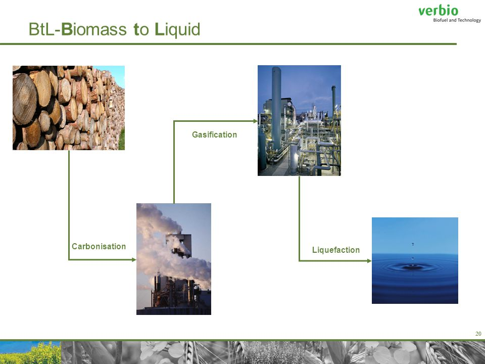20 BtL-Biomass to Liquid Carbonisation Gasification Liquefaction