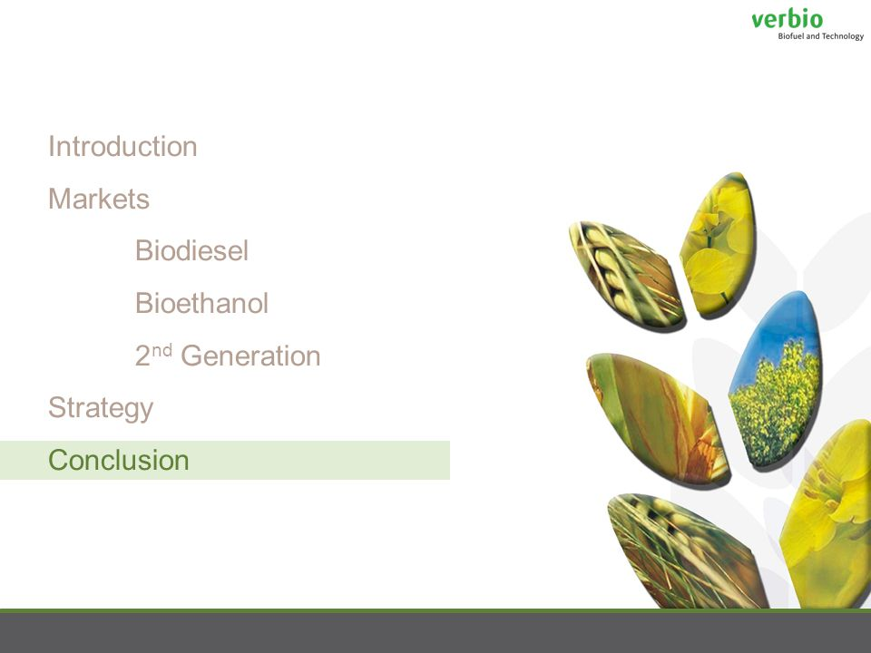 Introduction Markets Biodiesel Bioethanol 2 nd Generation Strategy Conclusion