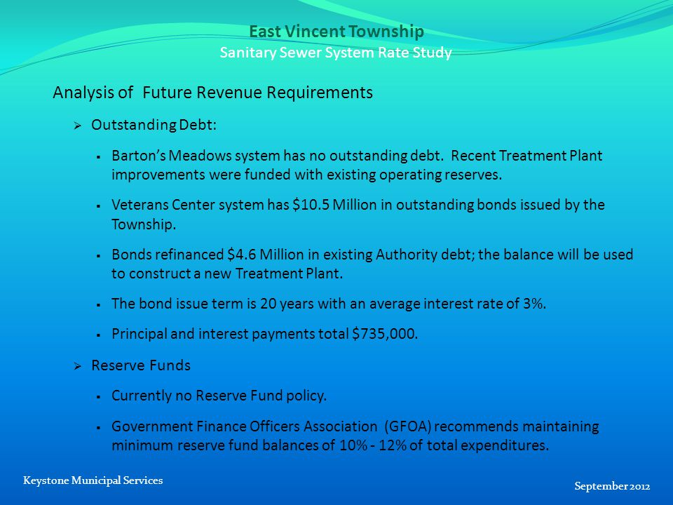 East Vincent Township Sanitary Sewer System Rate Study Analysis of Future Revenue Requirements  Outstanding Debt:  Barton's Meadows system has no outstanding debt.
