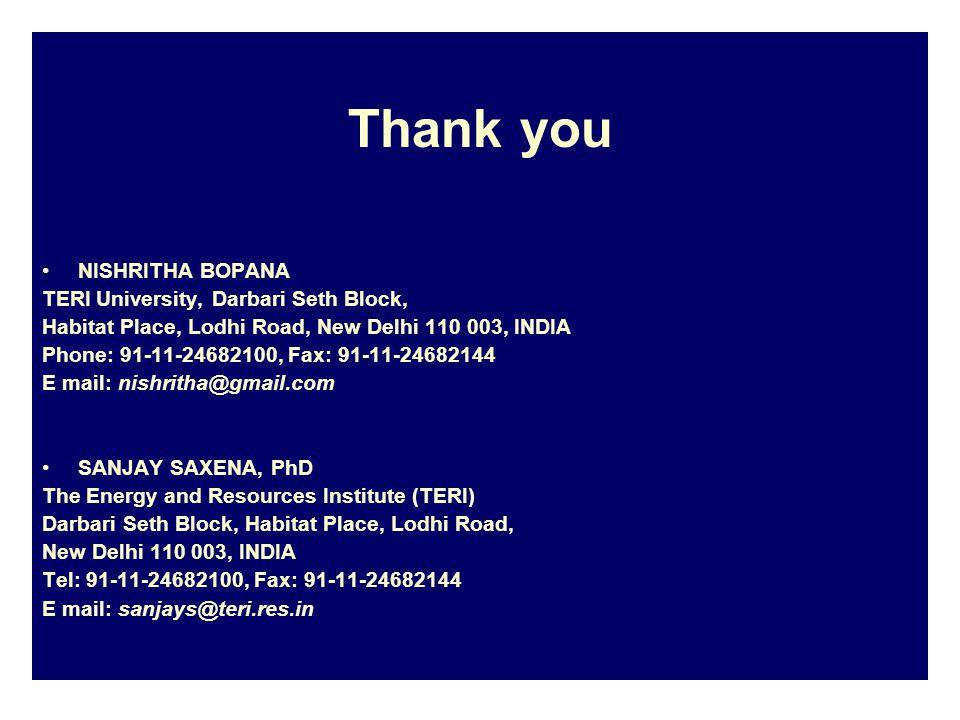 Thank you NISHRITHA BOPANA TERI University, Darbari Seth Block, Habitat Place, Lodhi Road, New Delhi 110 003, INDIA Phone: 91-11-24682100, Fax: 91-11-