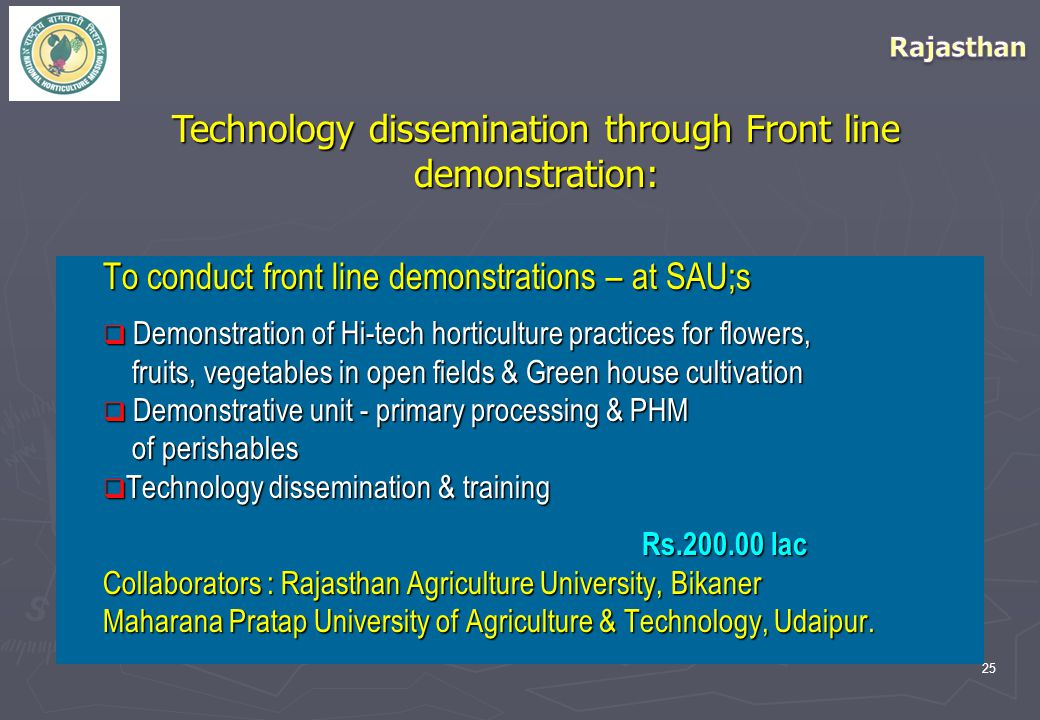 25 Technology dissemination through Front line demonstration: To conduct front line demonstrations – at SAU;s  Demonstration of Hi-tech horticulture