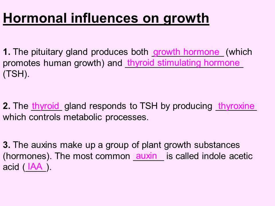 Hormonal influences on growth 1.