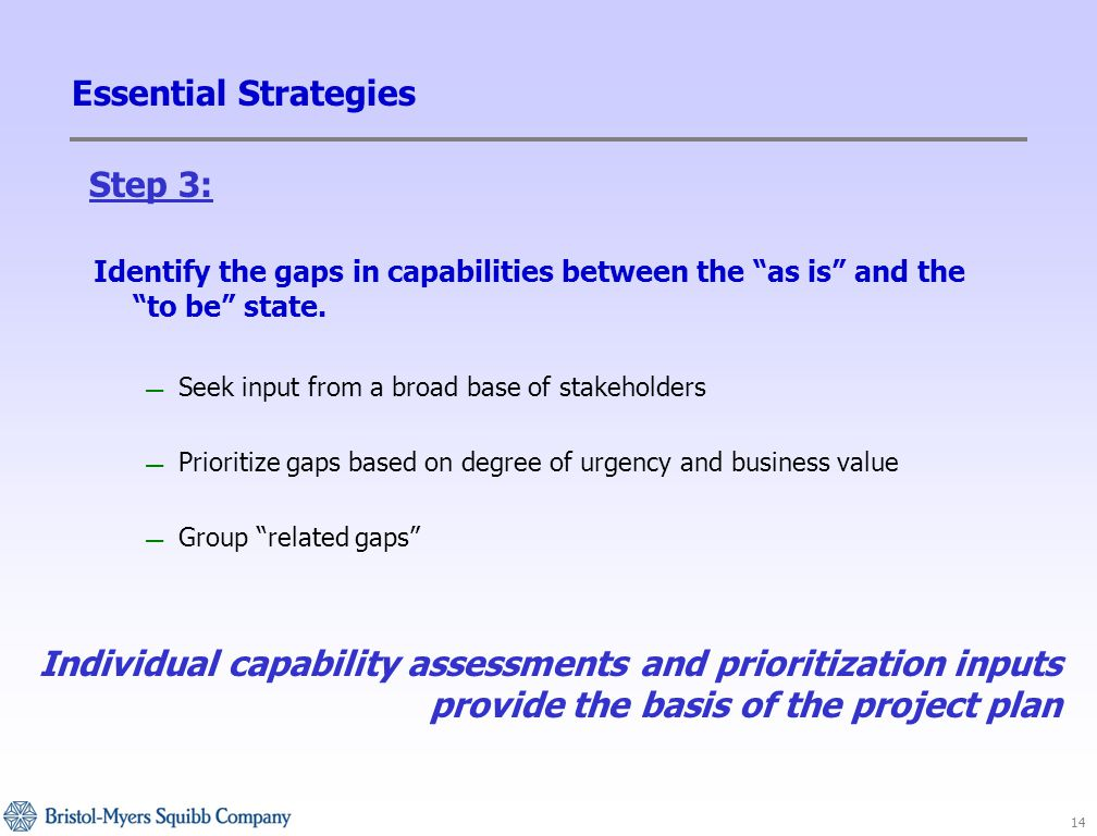14 Essential Strategies Identify the gaps in capabilities between the as is and the to be state.