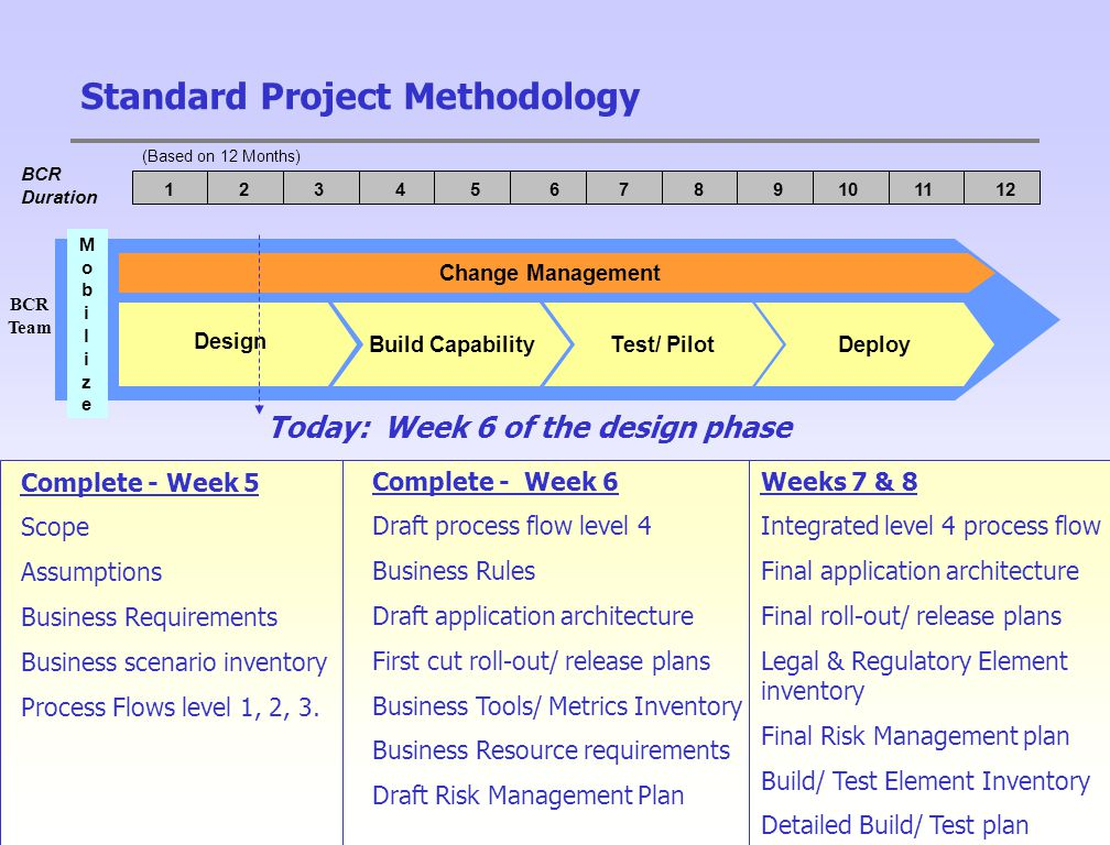 21 Standard Project Methodology Change Management Test/ PilotDeployBuild Capability Design MobilizeMobilize BCR Duration (Based on 12 Months) 123456789101112 BCR Team Today: Week 6 of the design phase Complete - Week 5 Scope Assumptions Business Requirements Business scenario inventory Process Flows level 1, 2, 3.