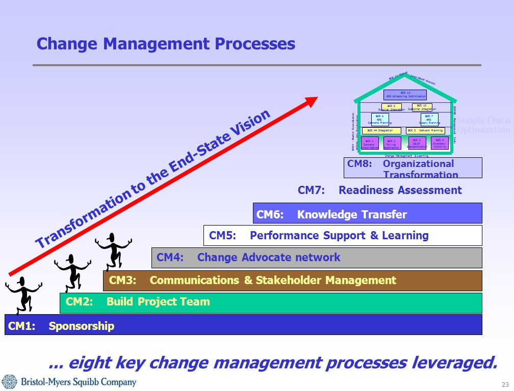 23 Change Management Processes CM1: Sponsorship CM2: Build Project Team CM3: Communications & Stakeholder Management CM4: Change Advocate network CM5: Performance Support & Learning CM6: Knowledge Transfer CM7: Readiness Assessment CM8: Organizational Transformation Supply Chain Optimization...