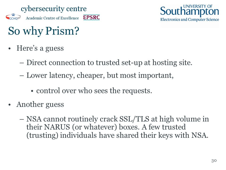 So why Prism.Here's a guess –Direct connection to trusted set-up at hosting site.