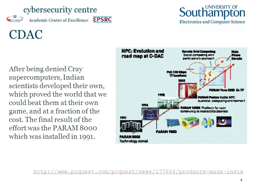 CDAC After being denied Cray supercomputers, Indian scientists developed their own, which proved the world that we could beat them at their own game, and at a fraction of the cost.
