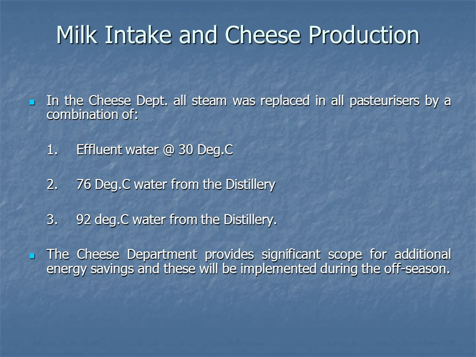 Milk Intake and Cheese Production In the Cheese Dept.