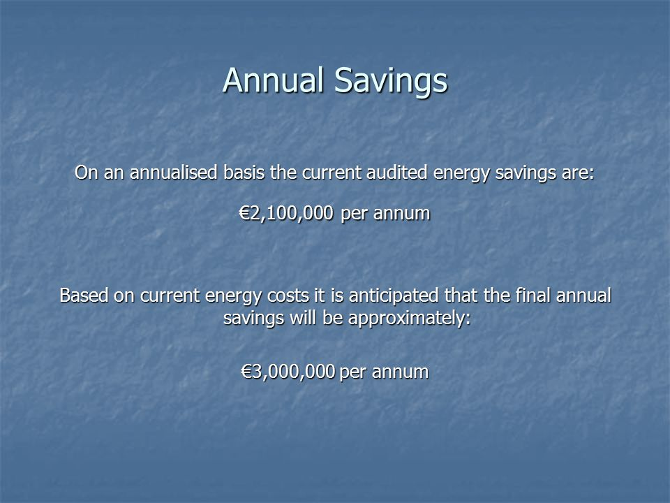 Annual Savings On an annualised basis the current audited energy savings are: €2,100,000 per annum Based on current energy costs it is anticipated that the final annual savings will be approximately: €3,000,000 per annum