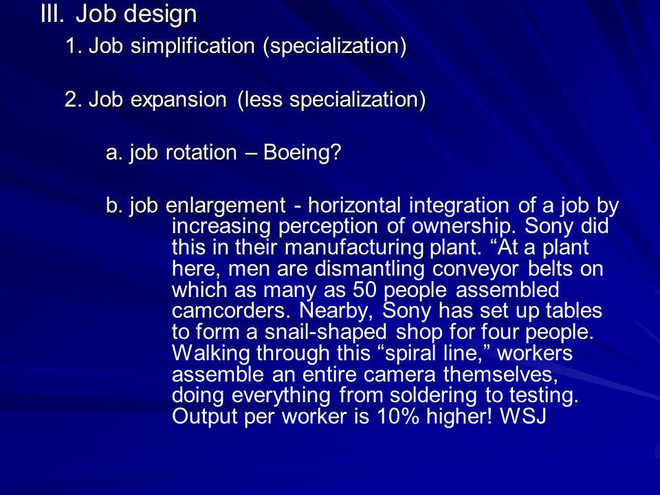 III. Job design 1. Job simplification (specialization) 2.