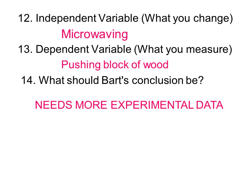 12. Independent Variable (What you change) 13. Dependent Variable (What you measure) 14. What should Bart's conclusion be? Microwaving Pushing block o