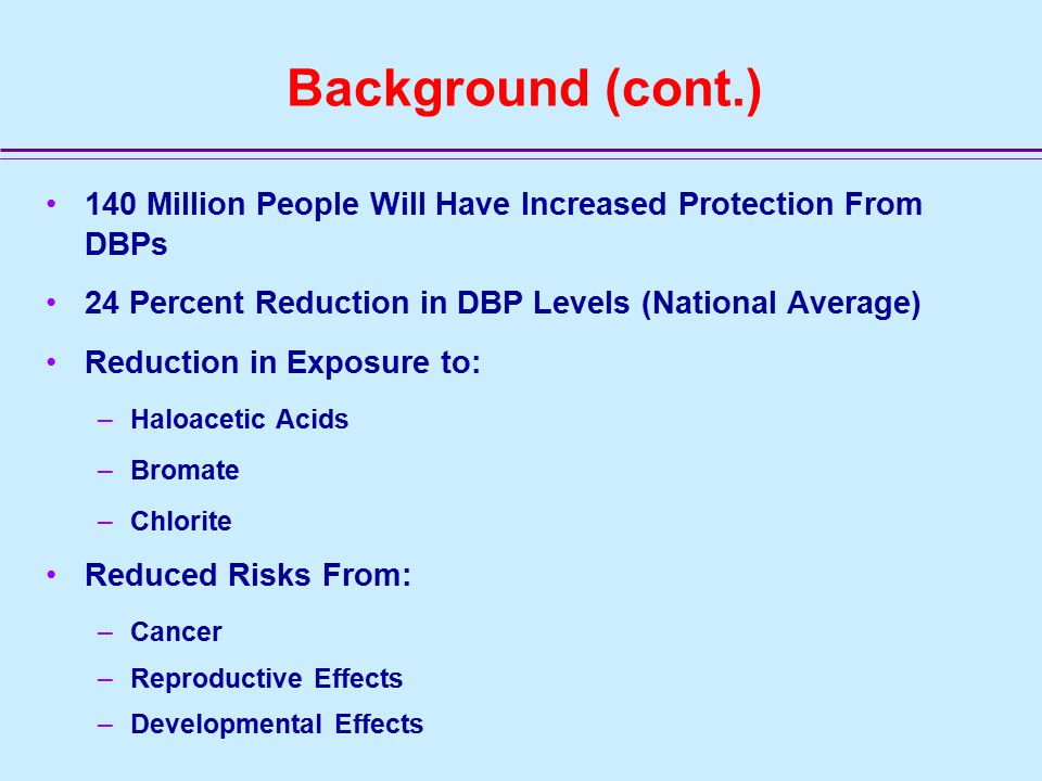 Background (cont.) 140 Million People Will Have Increased Protection From DBPs 24 Percent Reduction in DBP Levels (National Average) Reduction in Exposure to: –Haloacetic Acids –Bromate –Chlorite Reduced Risks From: –Cancer –Reproductive Effects –Developmental Effects