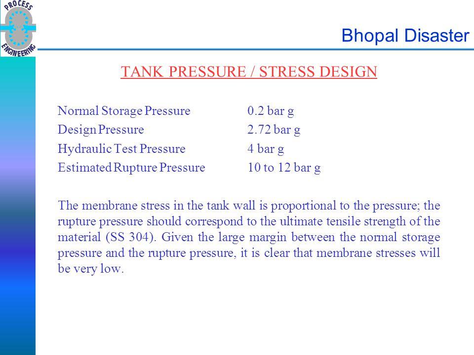Bhopal Disaster TANK PRESSURE / STRESS DESIGN Normal Storage Pressure0.2 bar g Design Pressure2.72 bar g Hydraulic Test Pressure4 bar g Estimated Rupt