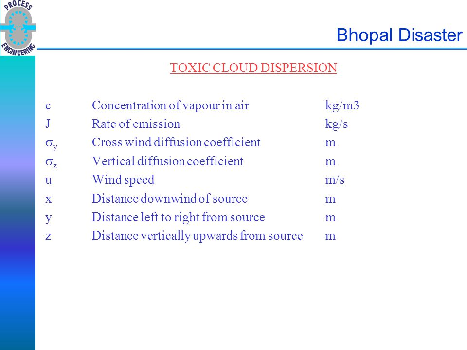 Bhopal Disaster TOXIC CLOUD DISPERSION cConcentration of vapour in airkg/m3 JRate of emissionkg/s  y Cross wind diffusion coefficientm  z Vertical d
