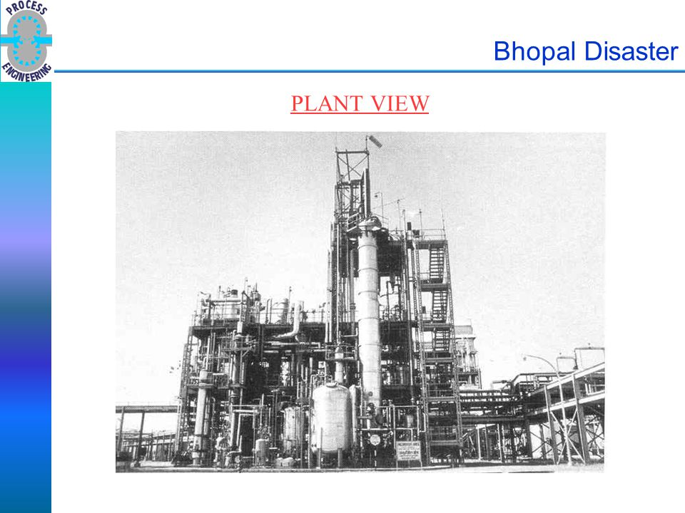 Bhopal Disaster PLANT VIEW Picture illustrates proximity of plant to residential urban neighbourhood.