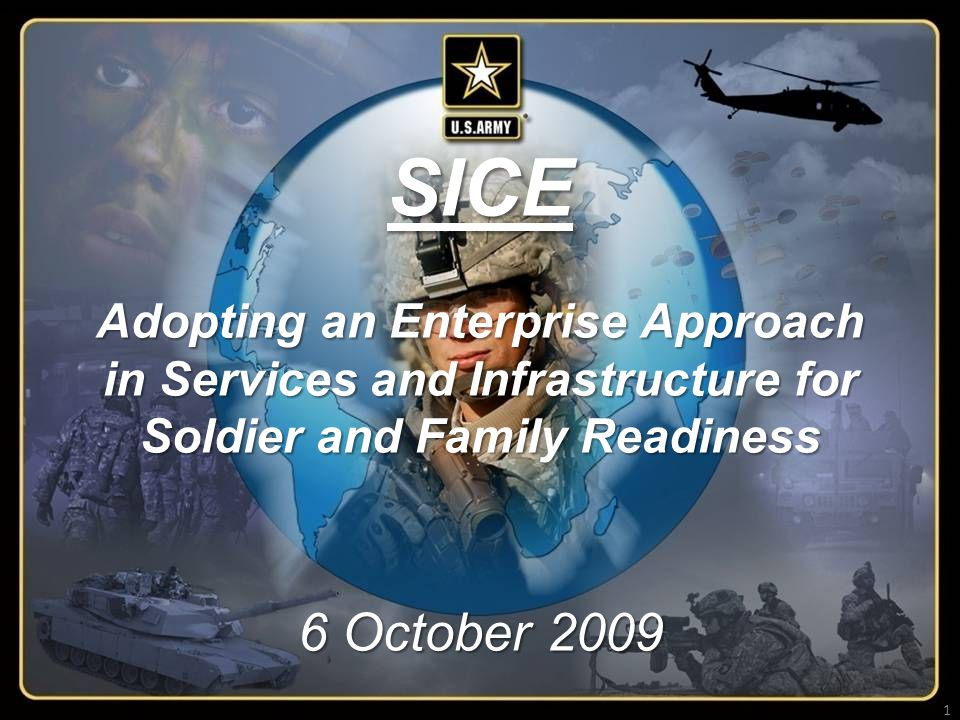 1 ARMY STRONG ACSIM Strategic Initiatives Group, 703 697 2016 AS OF 2 OCT 09 Unclassified SICE Adopting an Enterprise Approach in Services and Infrastructure for Soldier and Family Readiness 6 October 2009 1