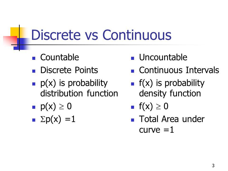 3 Discrete vs Continuous Countable Discrete Points p(x) is probability distribution function p(x)  0  p(x) =1 Uncountable Continuous Intervals f(x)
