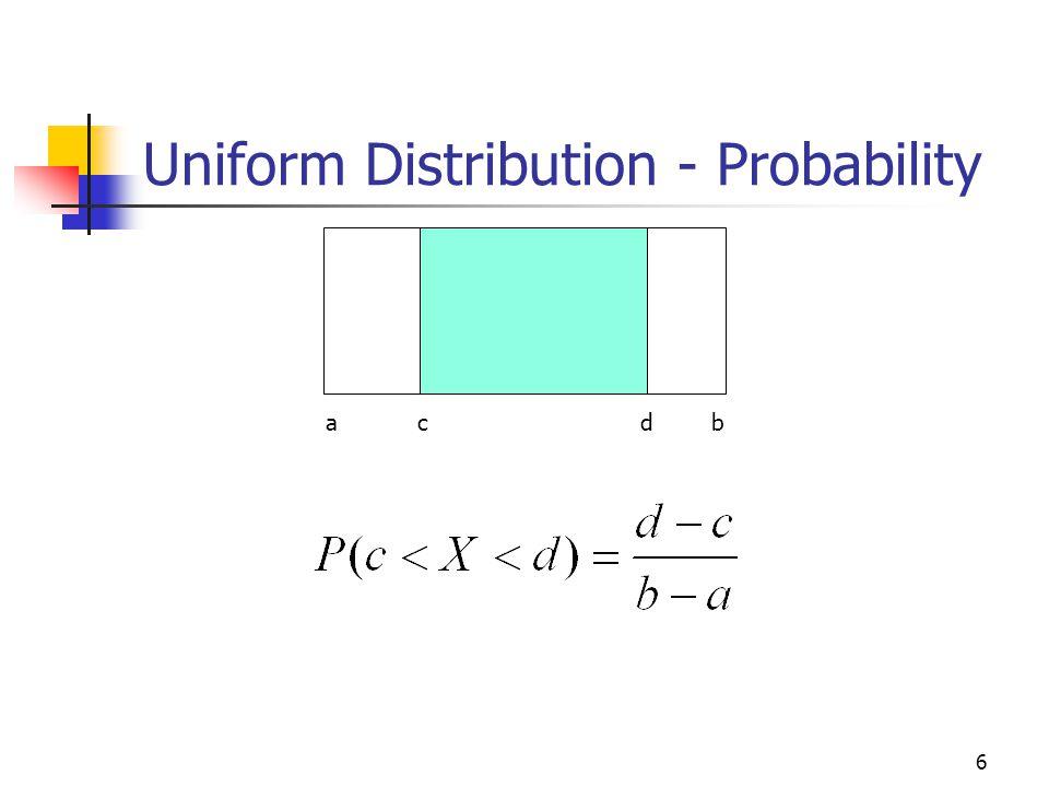 Uniform Distribution - Probability 6 a c d b