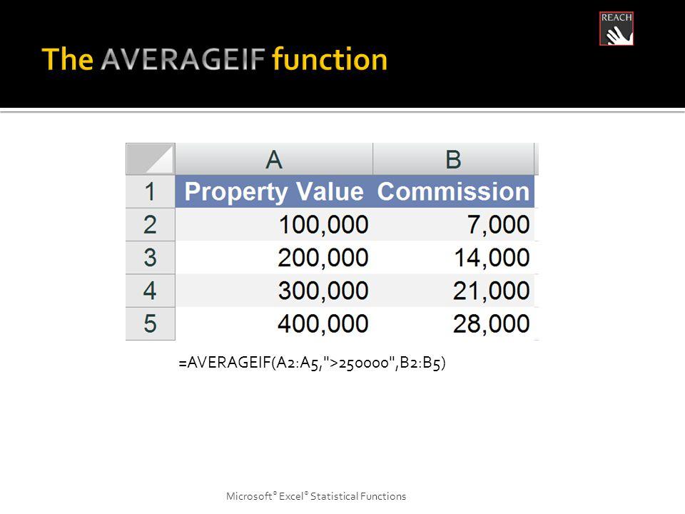 Microsoft ® Excel ® Statistical Functions =AVERAGEIF(A2:A5, >250000 ,B2:B5)
