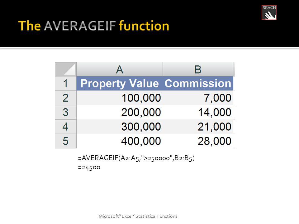 Microsoft ® Excel ® Statistical Functions =AVERAGEIF(A2:A5, >250000 ,B2:B5) =24500