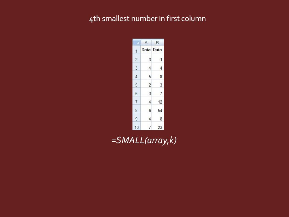 =SMALL(array,k) 4th smallest number in first column