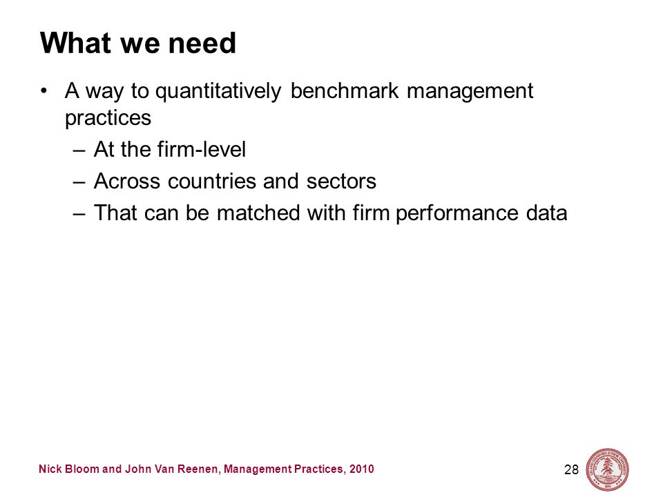 Nick Bloom and John Van Reenen, Management Practices, 2010 What we need A way to quantitatively benchmark management practices –At the firm-level –Across countries and sectors –That can be matched with firm performance data 28