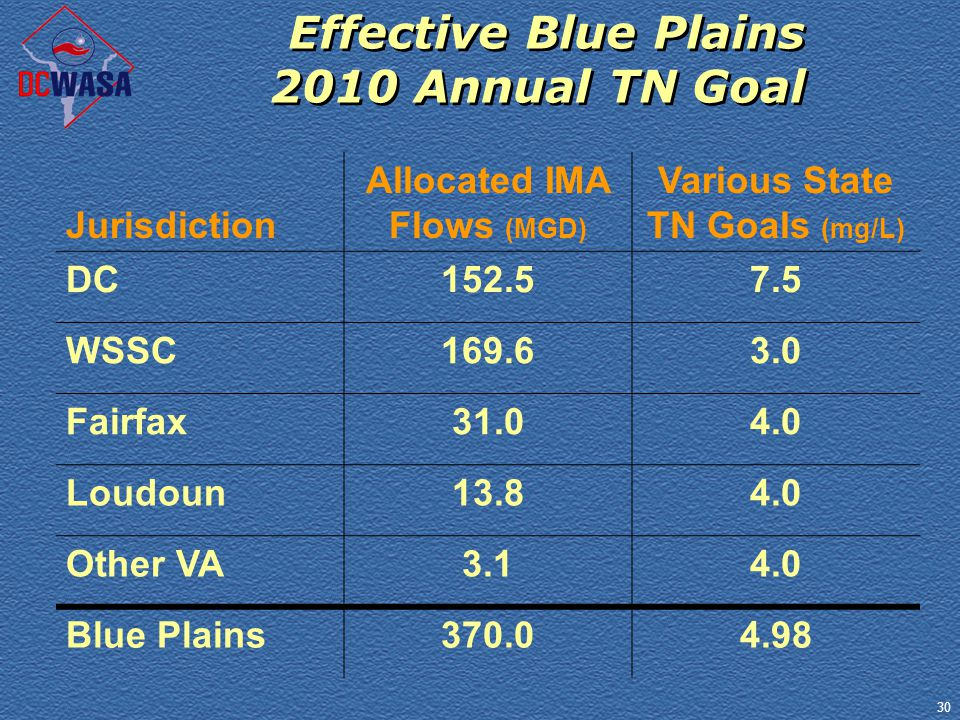 30 Effective Blue Plains 2010 Annual TN Goal Jurisdiction Allocated IMA Flows (MGD) Various State TN Goals (mg/L) DC152.57.5 WSSC169.63.0 Fairfax31.04.0 Loudoun13.84.0 Other VA3.14.0 Blue Plains370.04.98