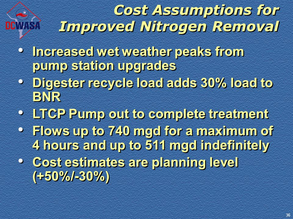 36 Cost Assumptions for Improved Nitrogen Removal Increased wet weather peaks from pump station upgrades Digester recycle load adds 30% load to BNR LT