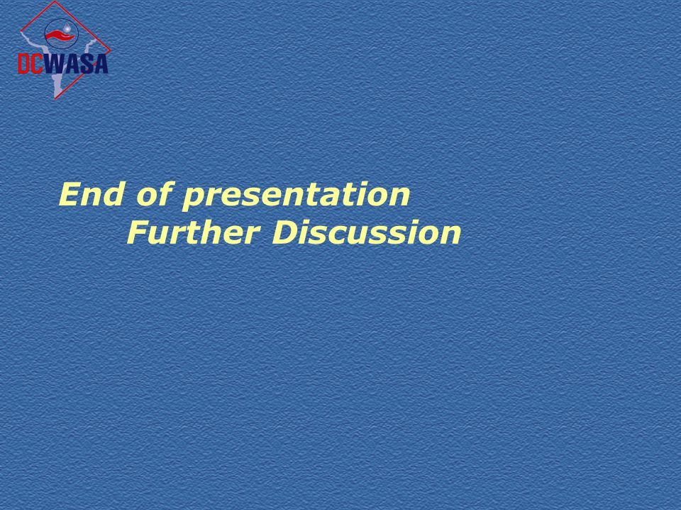 End of presentation Further Discussion