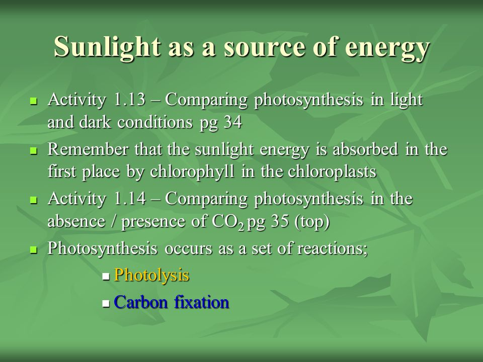 Sunlight as a source of energy Activity 1.13 – Comparing photosynthesis in light and dark conditions pg 34 Remember that the sunlight energy is absorb
