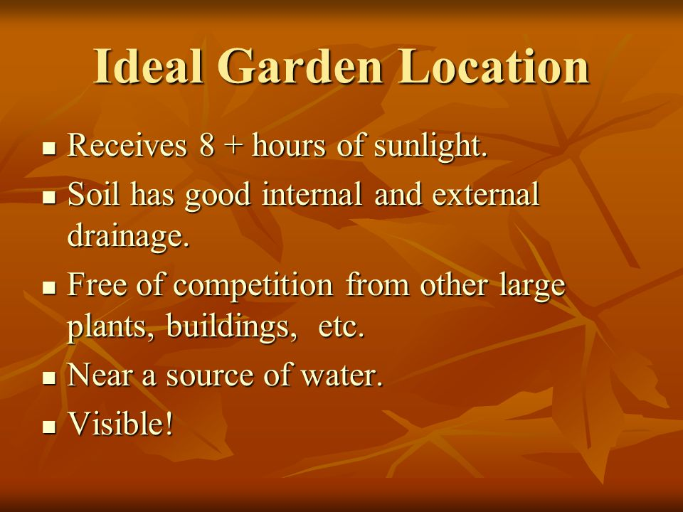 Ideal Garden Location Receives 8 + hours of sunlight.