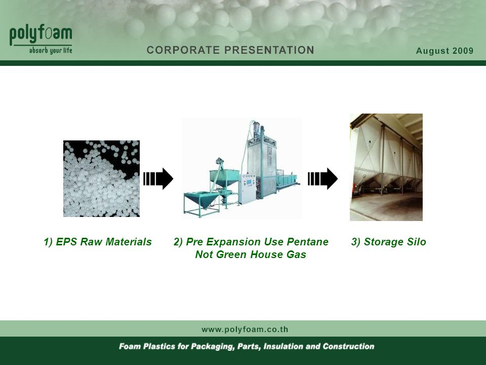 1) EPS Raw Materials2) Pre Expansion Use Pentane Not Green House Gas 3) Storage Silo