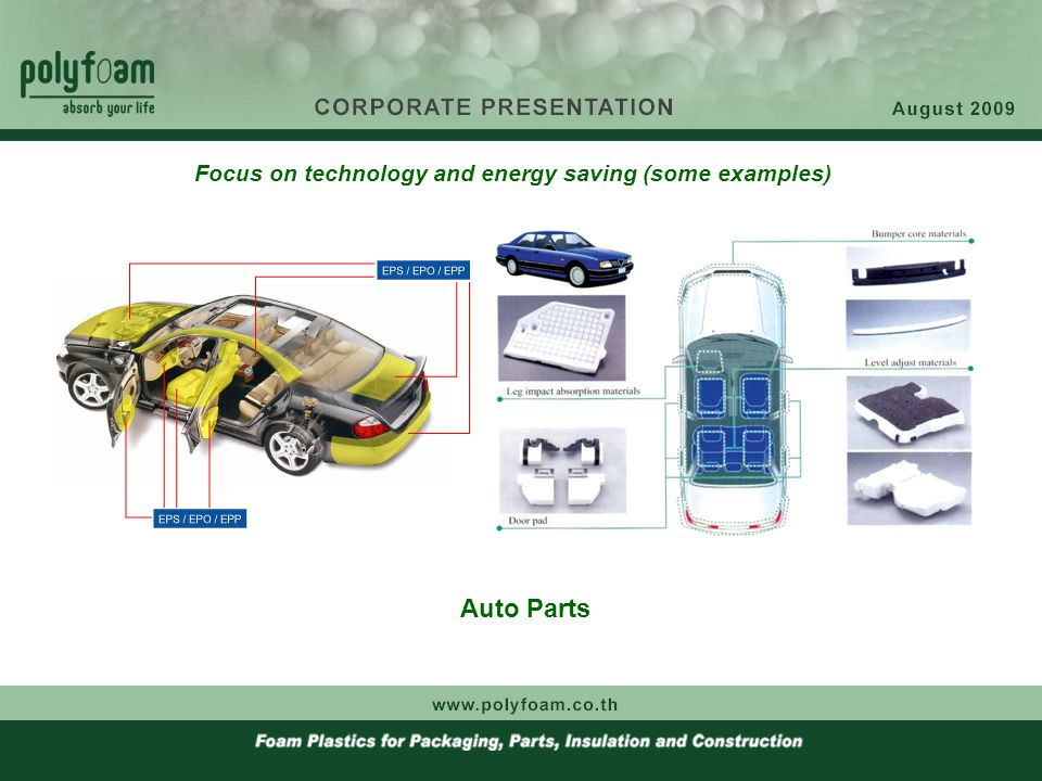 Auto Parts Focus on technology and energy saving (some examples)