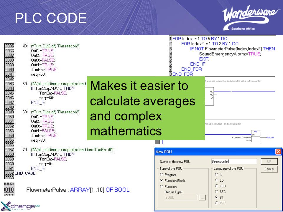 PLC CODE Makes it easier to calculate averages and complex mathematics