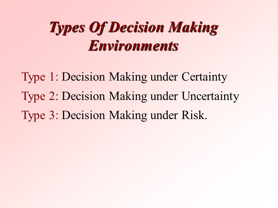 Types Of Decision Making Environments Type 1: Decision Making under Certainty Type 2: Decision Making under Uncertainty Type 3: Decision Making under