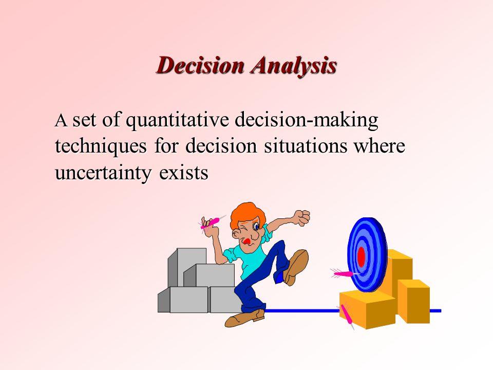 Decision Analysis A set of quantitative decision-making techniques for decision situations where uncertainty exists A set of quantitative decision-mak