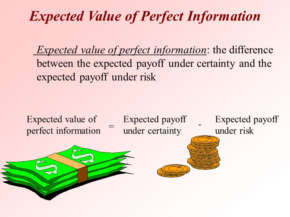 Expected Value of Perfect Information Expected value of perfect information: the difference between the expected payoff under certainty and the expect