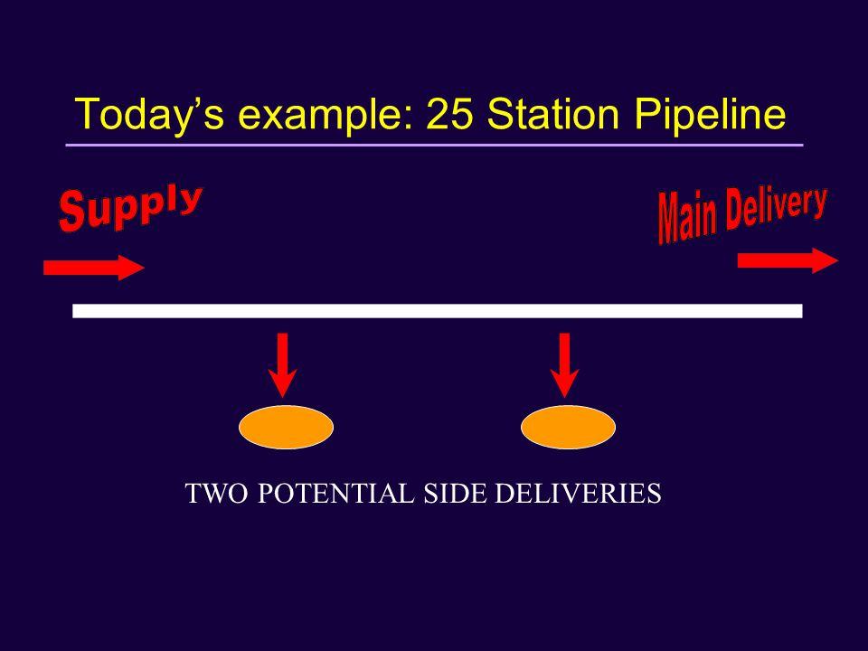 Today's example: 25 Station Pipeline TWO POTENTIAL SIDE DELIVERIES